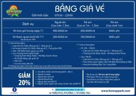 Giá vé khu du lịch Hồ Mây Vũng Tàu
