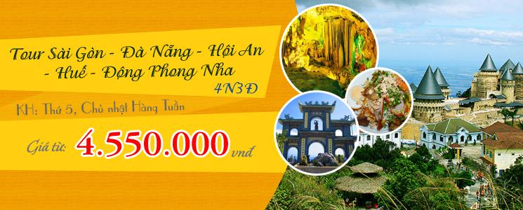 Tour Sài Gòn - Đà Nẳng - Hội An - Huế - Động Phong Nha 4 ngày 3 Đêm