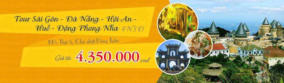Tour Sài Gòn - Đà Nẵng - Hội An - Bà Nà - Huế - Động Phong Nha 4 Ngày 3 Đêm