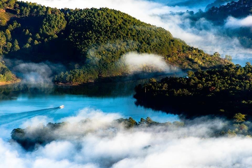 Hồ Tuyền Lâm huyền ảo trong màn sương sớm